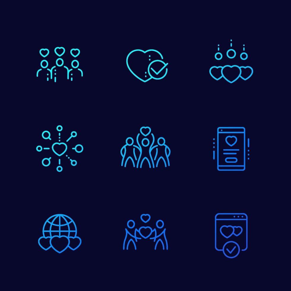 carità, donazioni vector linear icons.eps