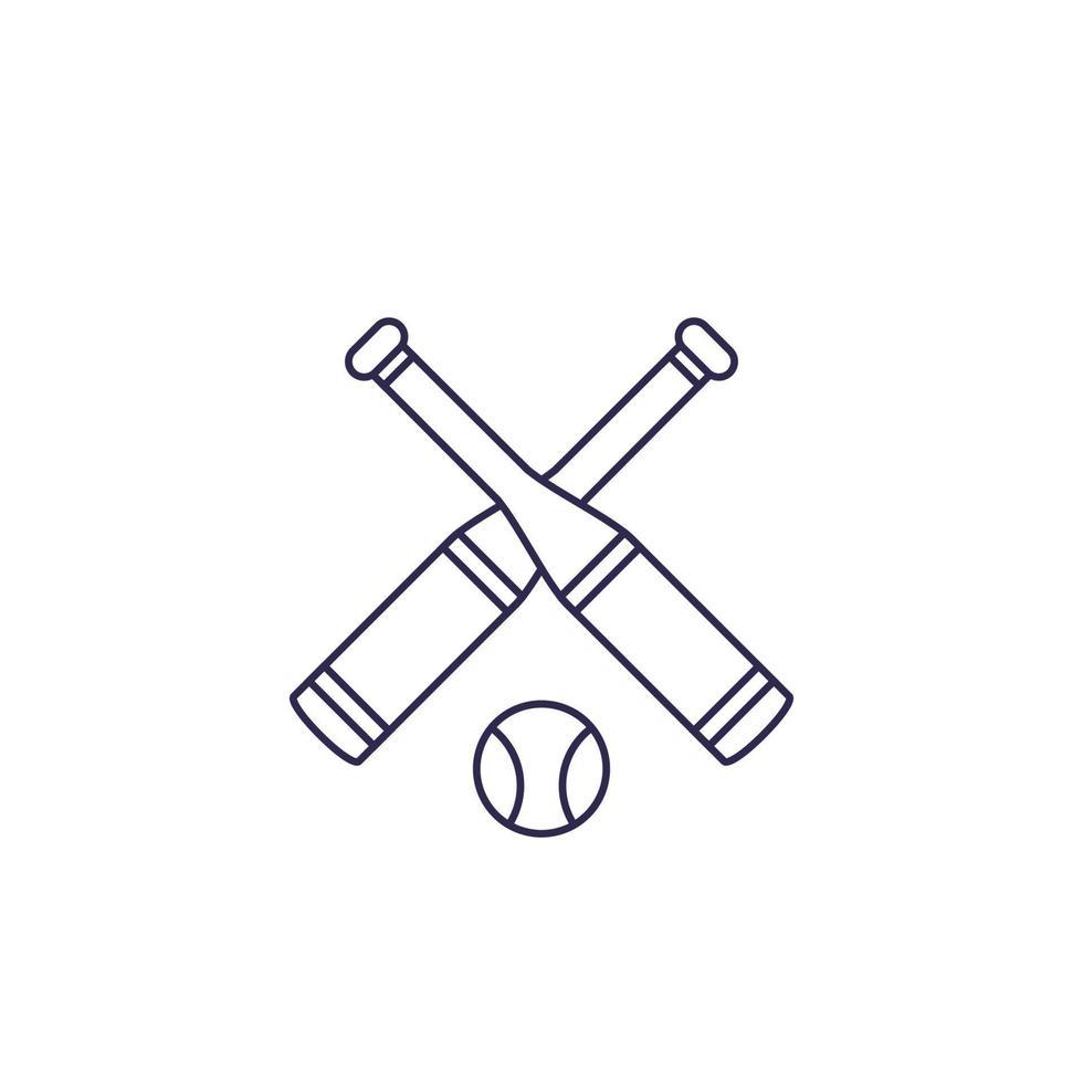 icona di baseball, mazze e palla, linea vector.eps vettore
