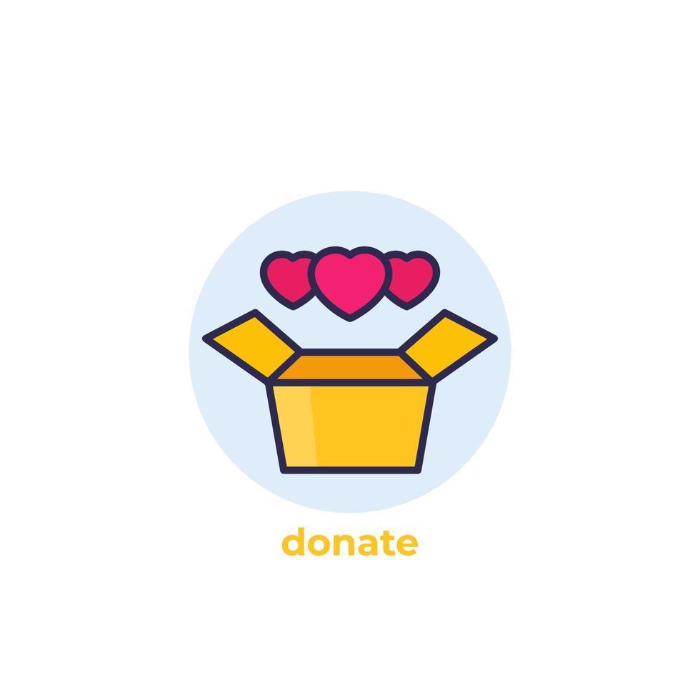 icona di vettore di casella di donazione con outline.eps