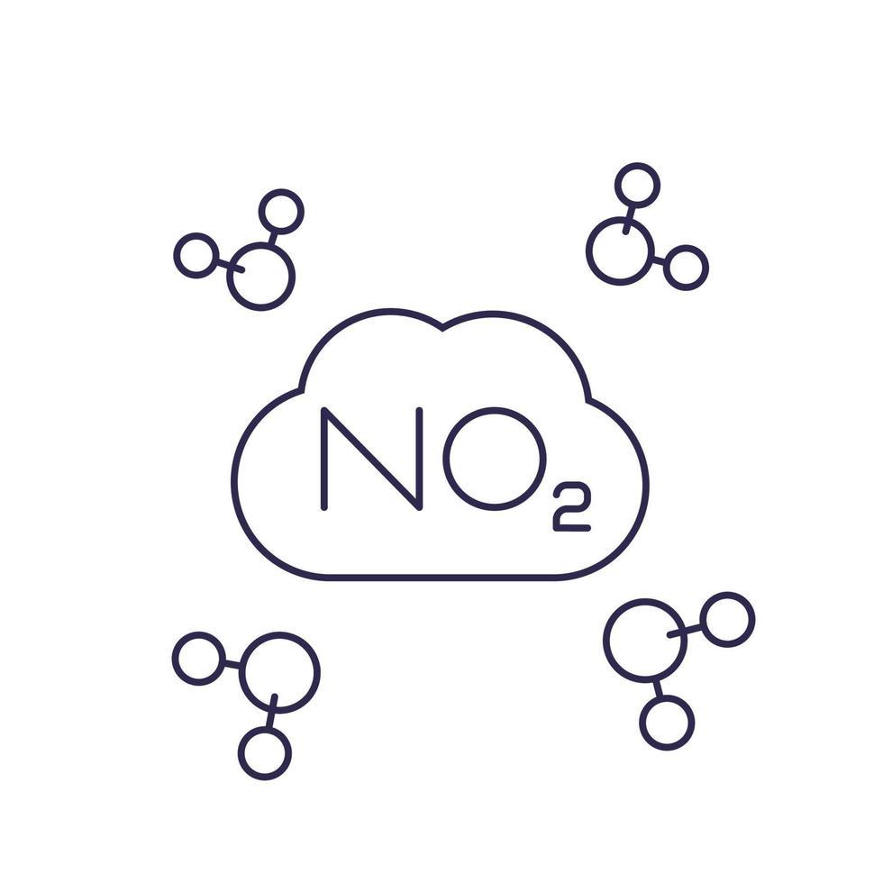 no2, molecola di biossido di azoto, linea vector.eps vettore