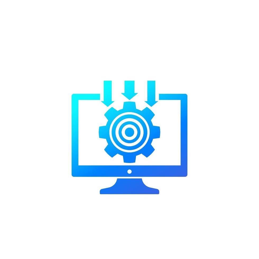 sistema di integrazione, icona della tecnologia informatica con gradiente.eps vettore