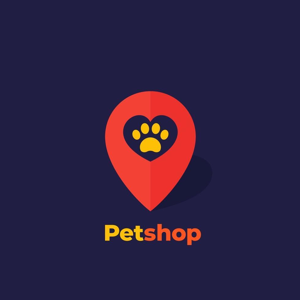 zampa e cuore in marchio, logo del negozio di animali, vector.eps vettore
