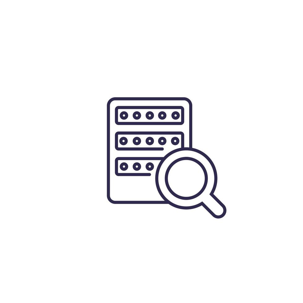 ricerca mainframe o server, icona linea su white.eps vettore