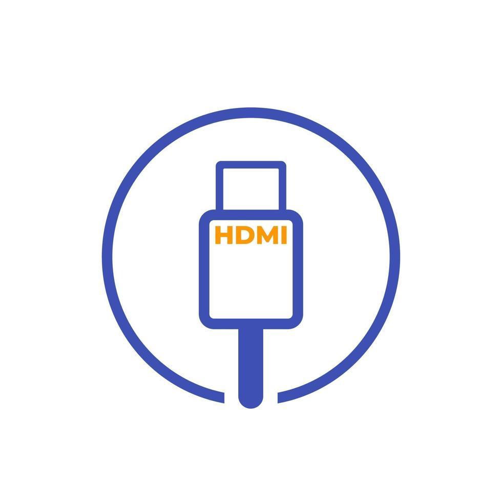 icona di vettore del cavo hdmi su white.eps