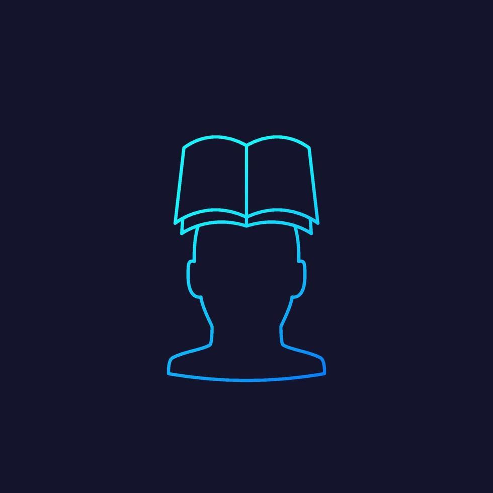 libro e testa linea vettoriale icon.eps