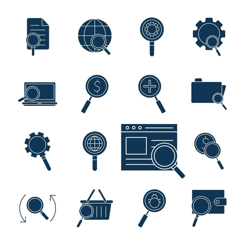 set di icone di ricerca silhouette vettore