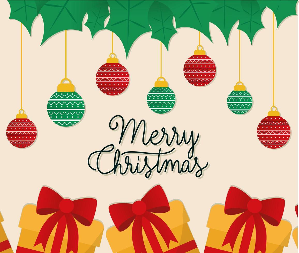 buon natale regali con ornamenti appesi disegno vettoriale