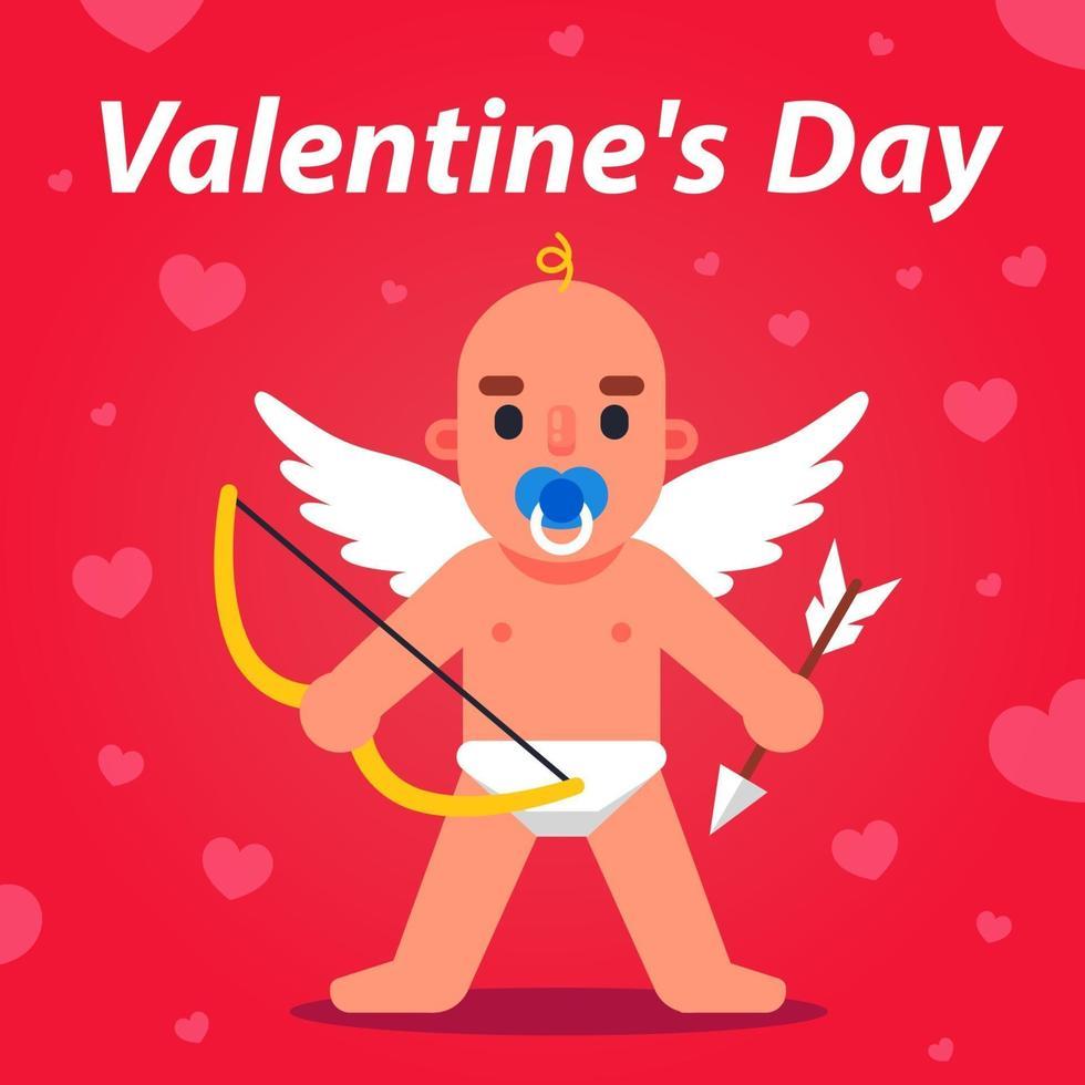 Cupido con arco e freccia sta guardando. simpatico angelo con le ali. illustrazione vettoriale piatta