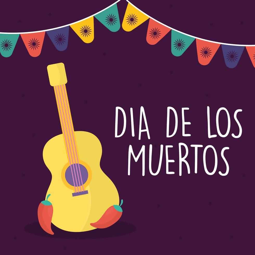 giorno messicano della chitarra morta con disegno vettoriale chillis