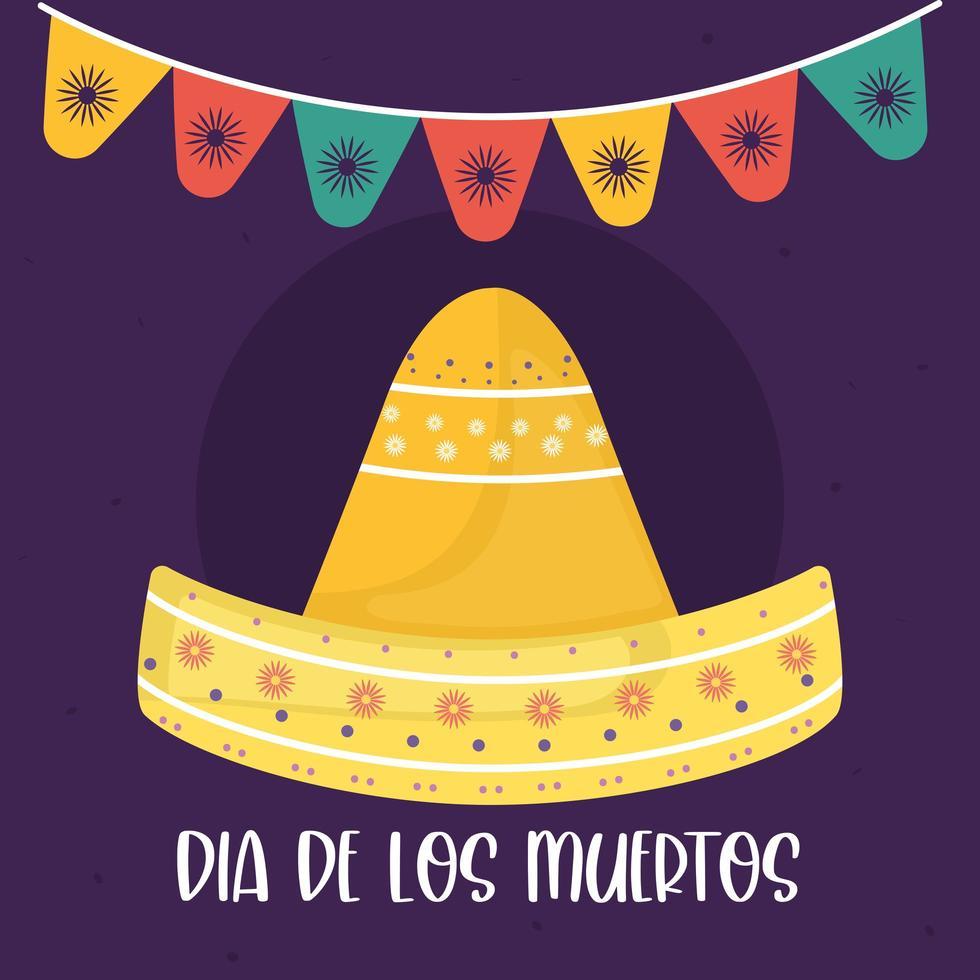 cappello sombrero messicano giorno dei morti con disegno vettoriale gagliardetto