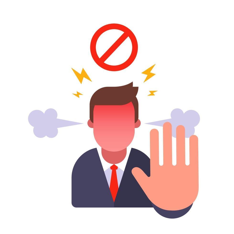 l'uomo mostra il gesto di arresto. divieto di ingresso. arrabbiato con la persona e proibisci. illustrazione di carattere vettoriale piatto.