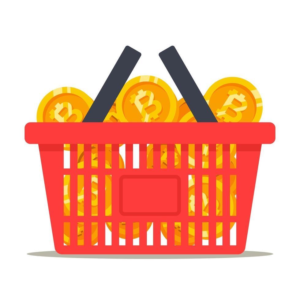 cesto pieno di monete bitcoin. rotolamento di criptovalute. illustrazione vettoriale piatta.