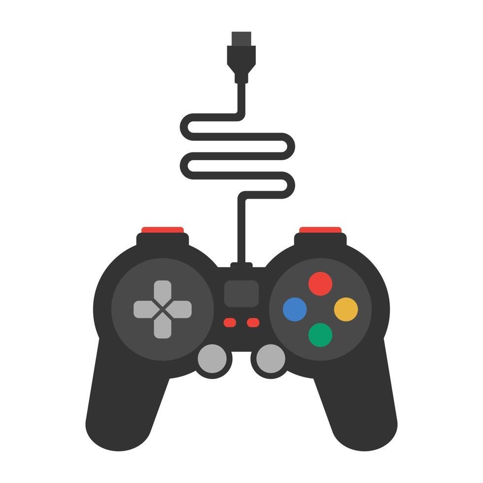 gamepad nero con un filo su uno sfondo bianco. illustrazione vettoriale piatta.