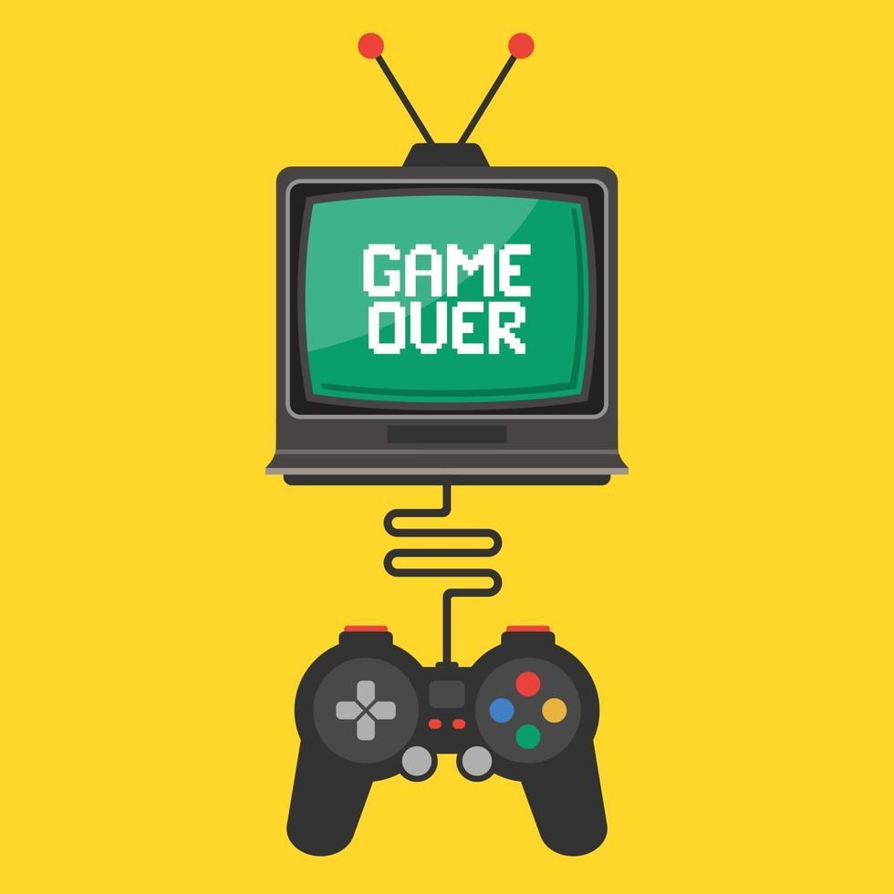 controllo tramite joystick in un videogioco su una vecchia TV. iscrizione game over sullo schermo. illustrazione vettoriale piatta