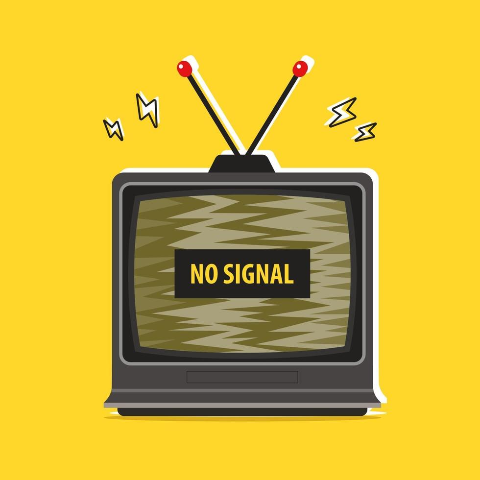 vecchia tv inceppata. nessun segnale. illustrazione vettoriale piatta