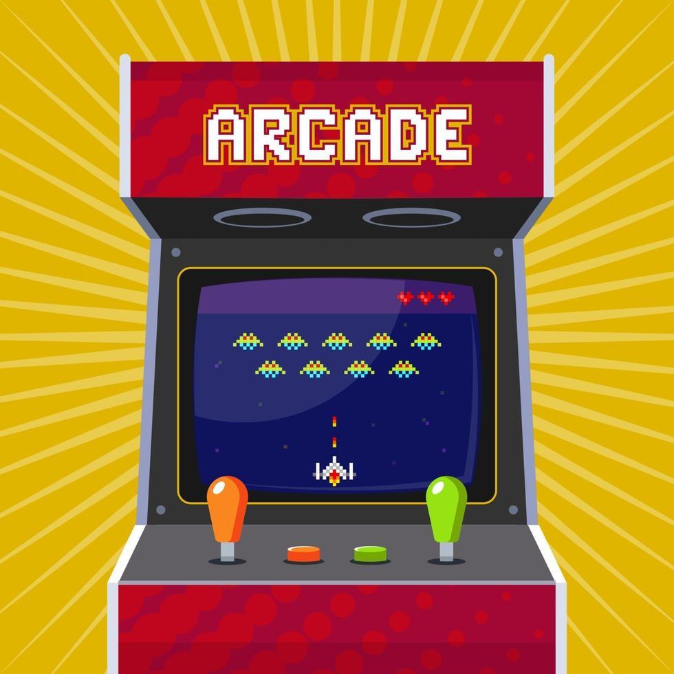 slot machine arcade retrò con gioco di pixel. illustrazione vettoriale piatta.