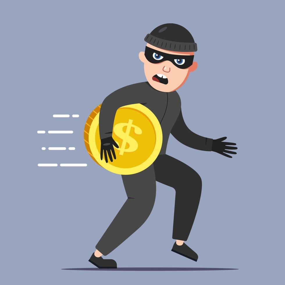 il criminale ha rubato una moneta d'oro. scappare dalla scena del crimine. illustrazione vettoriale di carattere piatto.