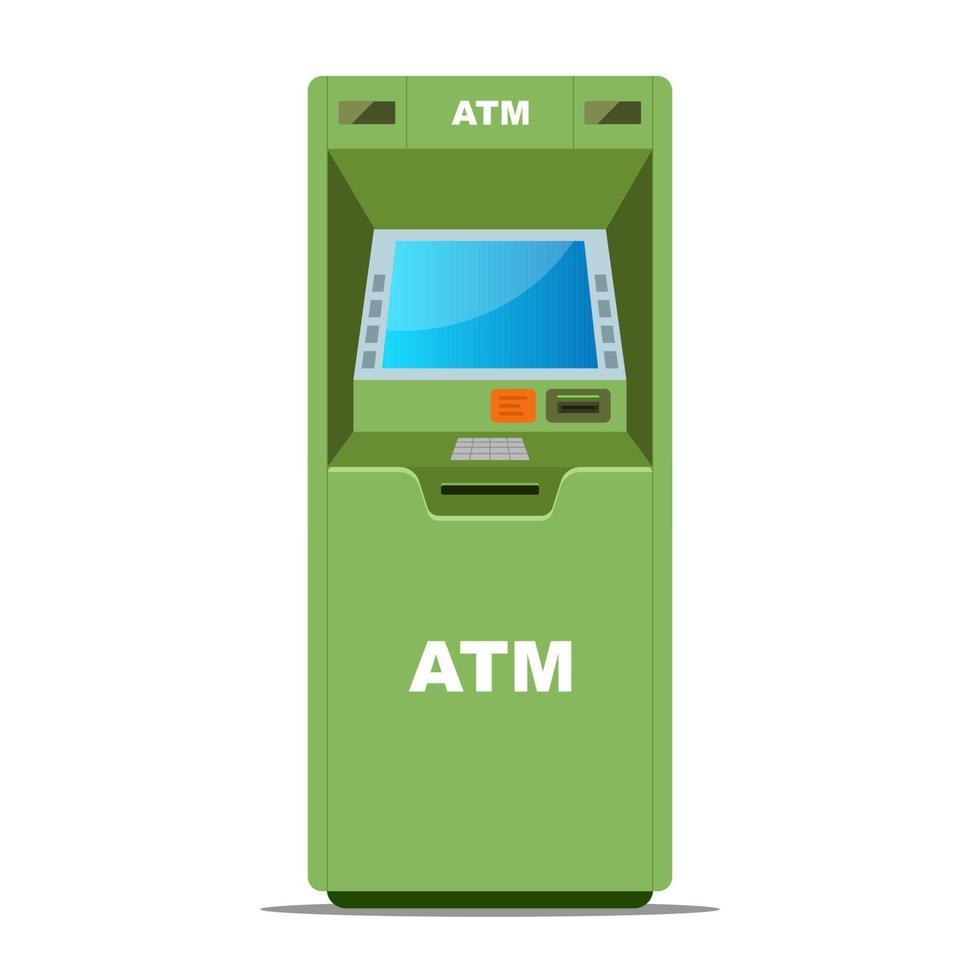 bancomat verde per il prelievo di denaro su uno sfondo bianco. illustrazione vettoriale piatta