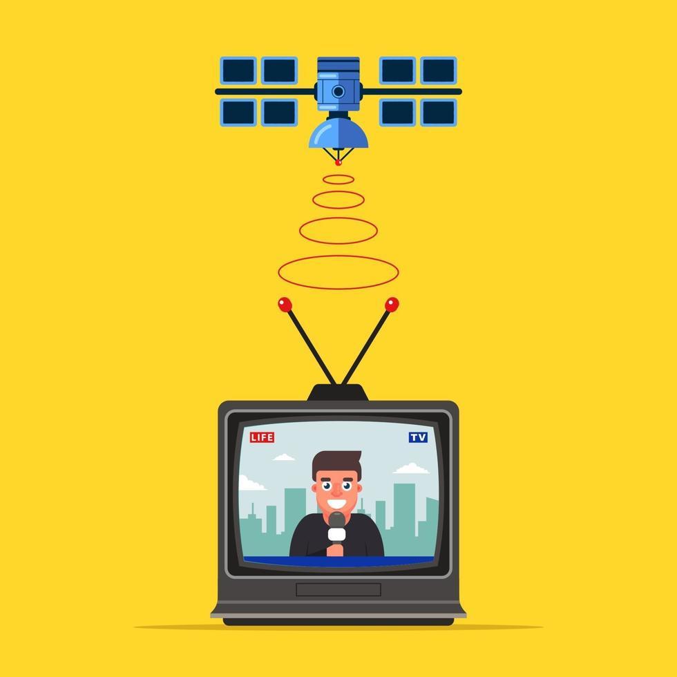 televisione satellitare che trasmette il segnale alla terra. giornalista sta riportando in diretta in tv. illustrazione vettoriale piatta.
