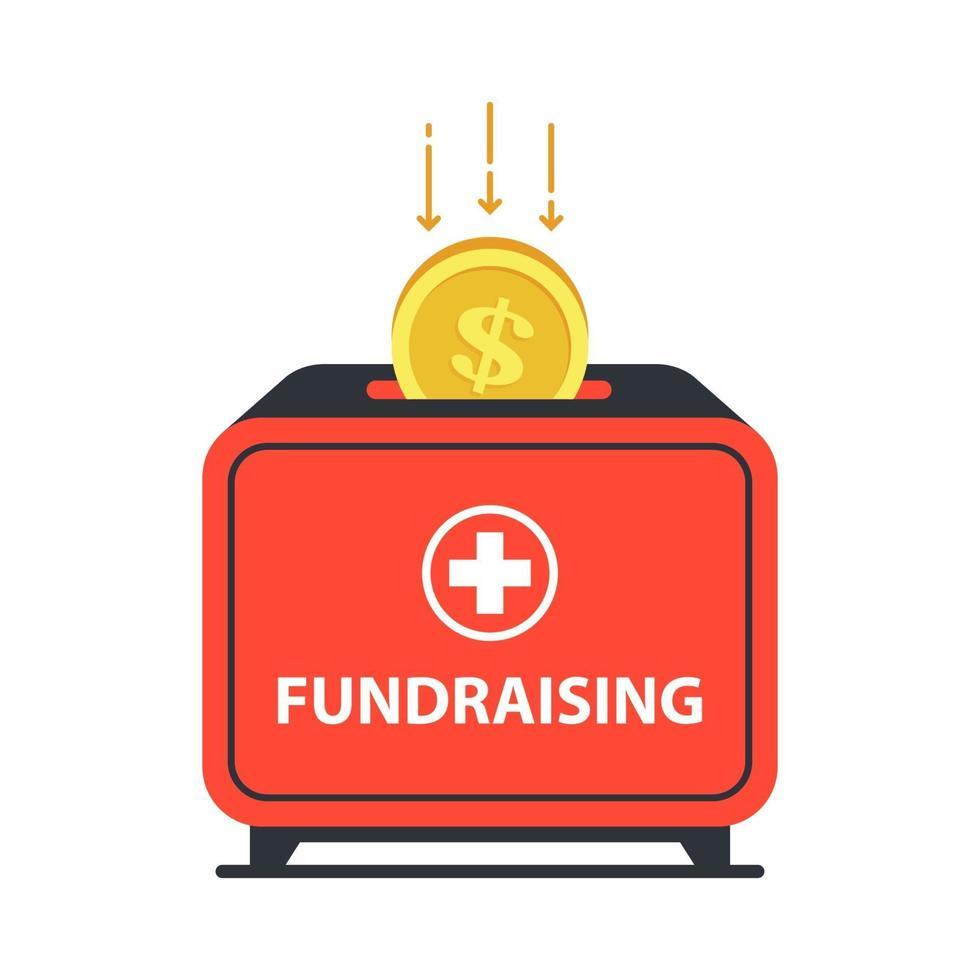 cassetta delle donazioni in cui cade la moneta. aiutare chi ha bisogno di cure. illustrazione vettoriale piatta.