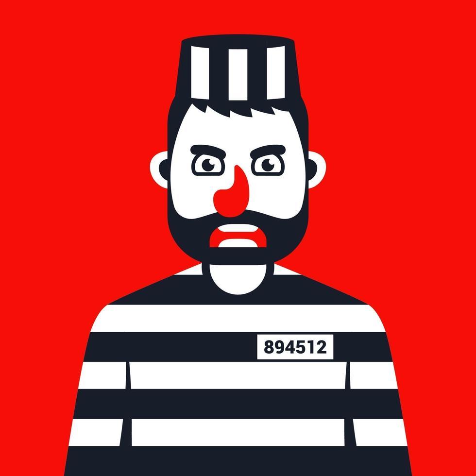 criminale arrabbiato in uniforme a strisce della prigione. illustrazione vettoriale di carattere piatto.