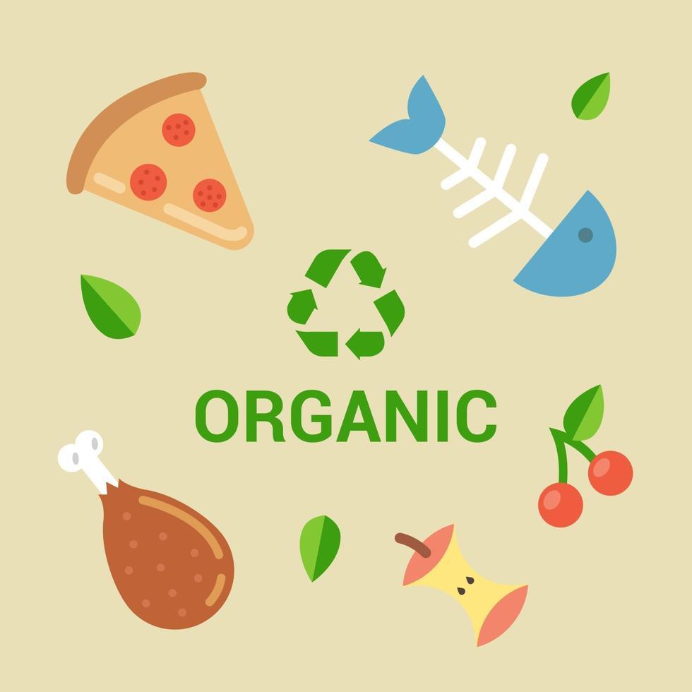 esempi di rifiuti biodegradabili. spazzatura per compost. illustrazione vettoriale piatta.