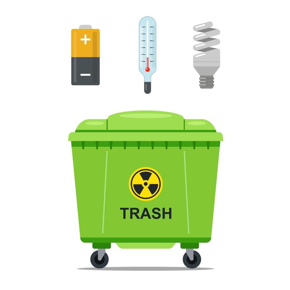 contenitore di ferro per la spazzatura per lo stoccaggio di rifiuti pericolosi. illustrazione vettoriale piatta.