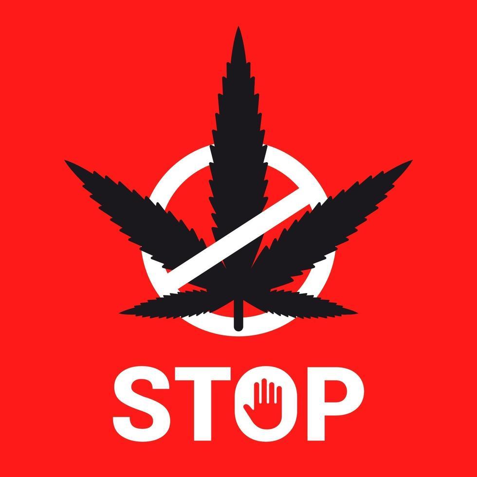 emblema fermare la marijuana su uno sfondo rosso. pianta barrata. illustrazione vettoriale piatta.