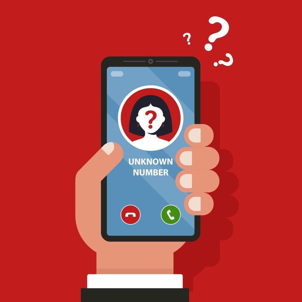 un numero di cellulare sconosciuto sta squillando sul telefono. illustrazione vettoriale piatta.