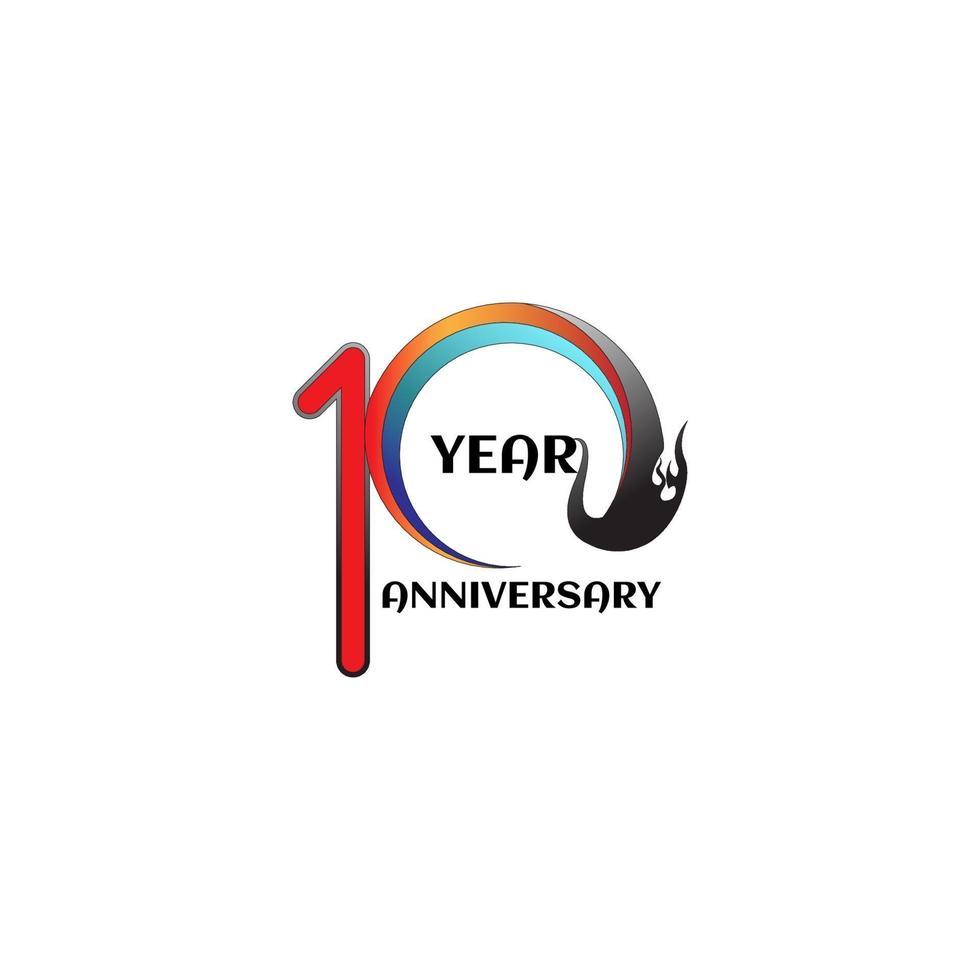 Illustrazione di progettazione del modello di vettore di celebrazione di anniversario di 10 anni