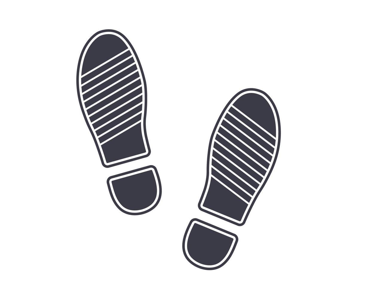 icona impronte nere dalle scarpe sul terreno. illustrazione vettoriale piatta.