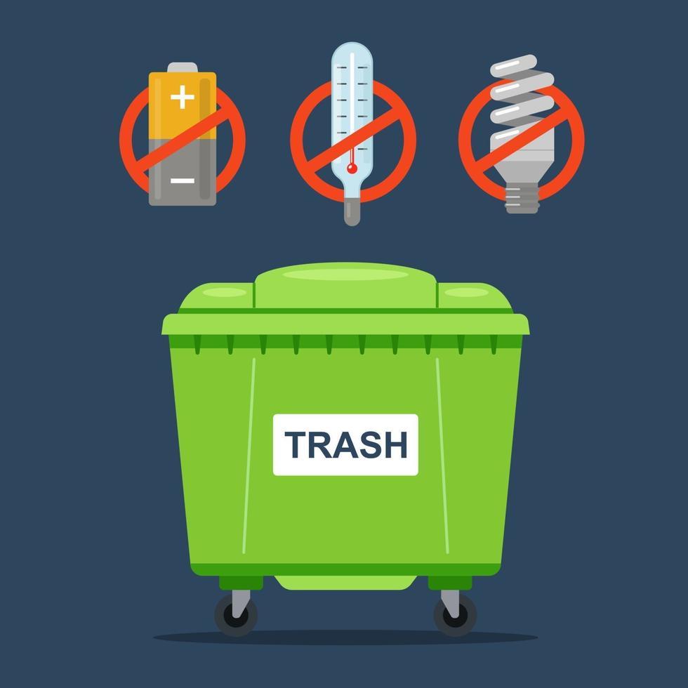 rifiuti vietati che non devono essere gettati in un normale contenitore per rifiuti. termometri, batterie e lampade fluorescenti. illustrazione vettoriale piatta.