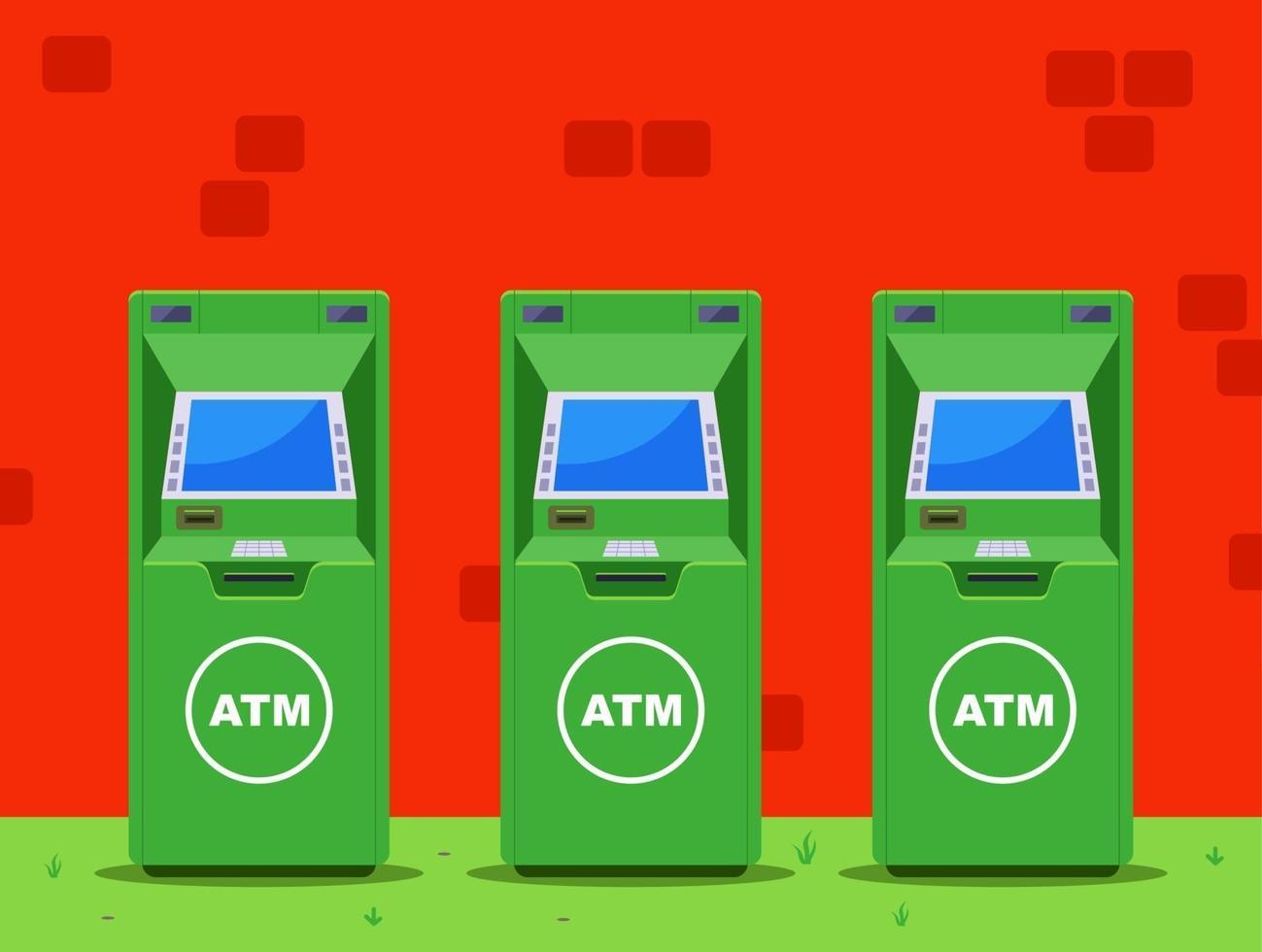 diversi bancomat verdi sulla strada. illustrazione vettoriale piatta.