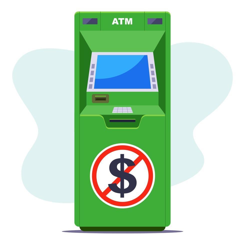 bancomat verde dove non ci sono contanti. carenza di denaro al bancomat. illustrazione vettoriale piatta.