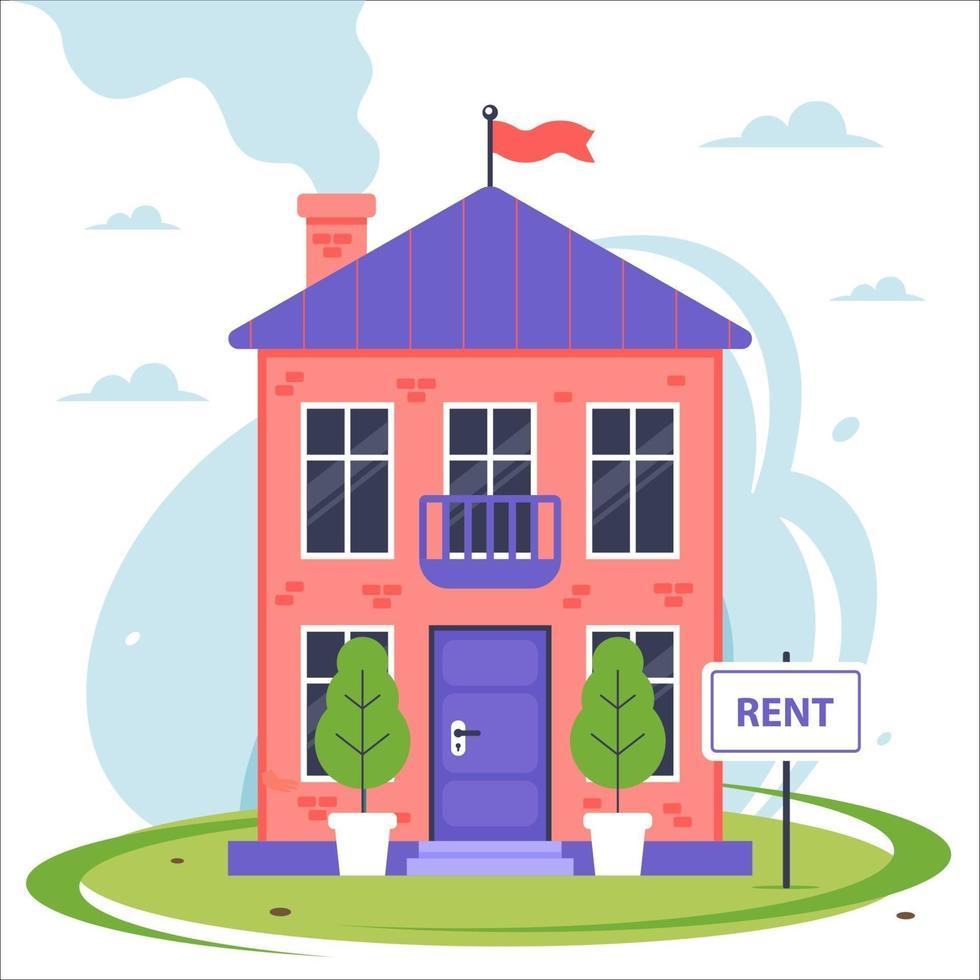 nuova casa a due piani in affitto. illustrazione vettoriale piatta.