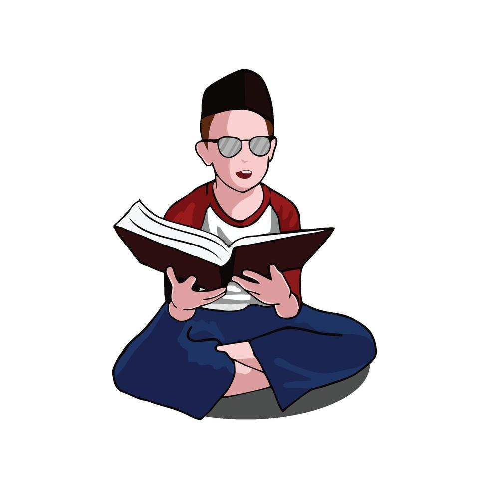 ragazzo musulmano leggendo il libro che indossa il berretto vettore