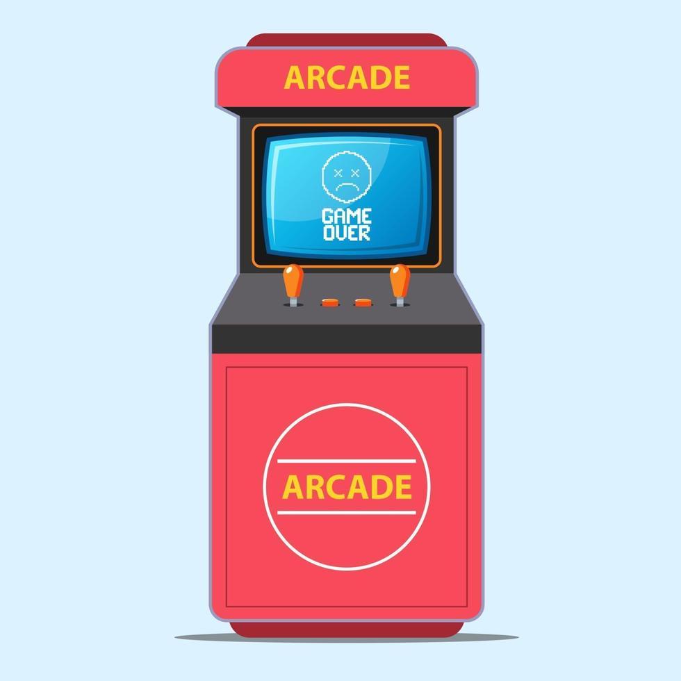 macchina da gioco arcade rossa. didascalia dello schermo del gioco. illustrazione vettoriale piatta.