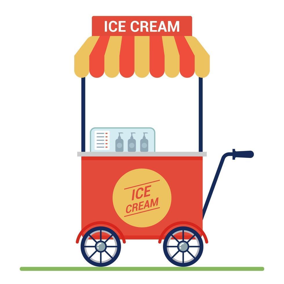 carrello rosso con gelato sulla strada. piccola impresa. illustrazione vettoriale piatta.