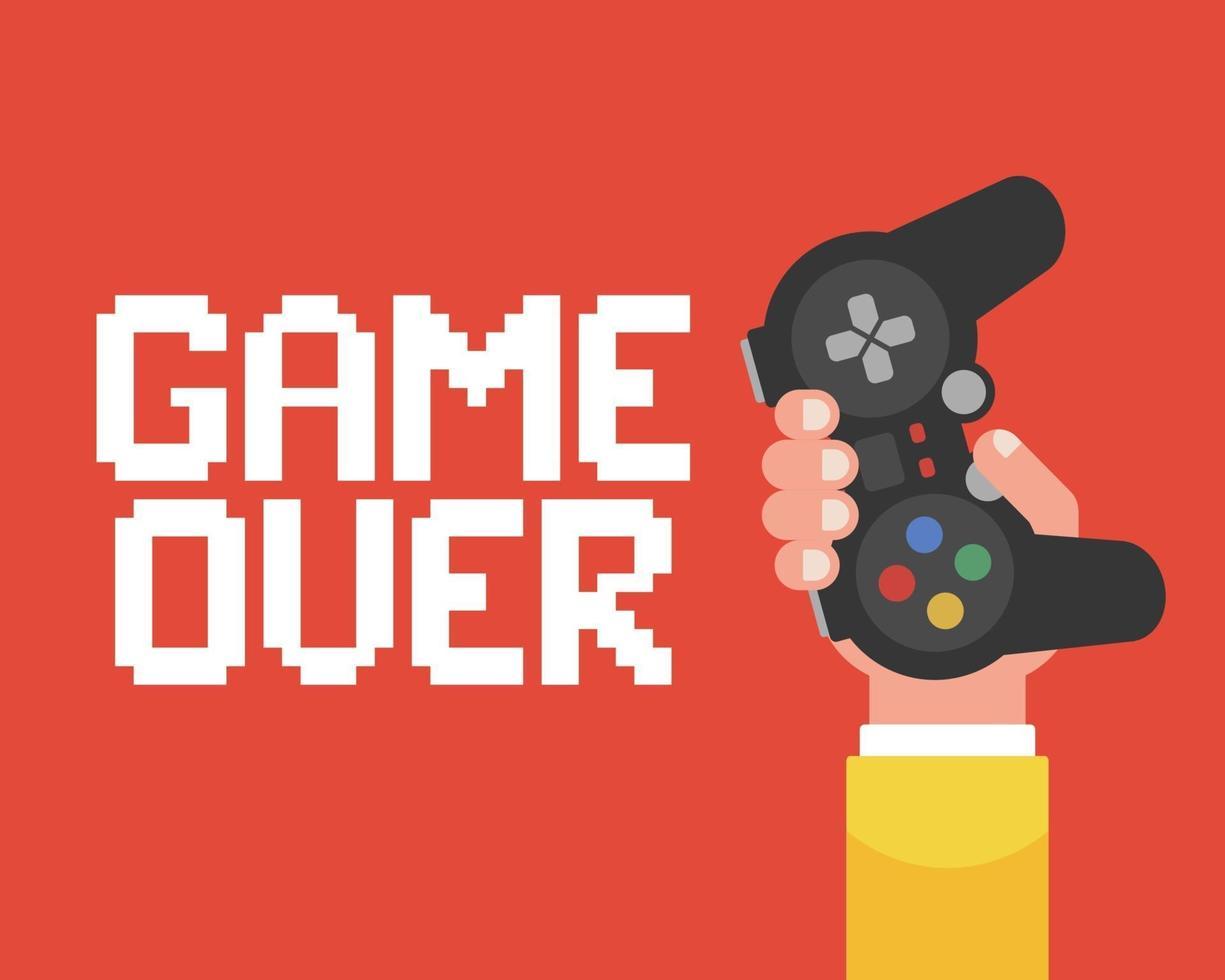poster game over con una mano che tiene il joystick. illustrazione vettoriale piatta.