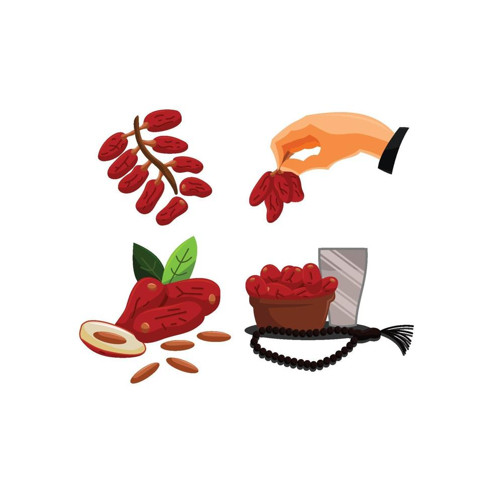 saluti di ramadan date set di frutta vettore