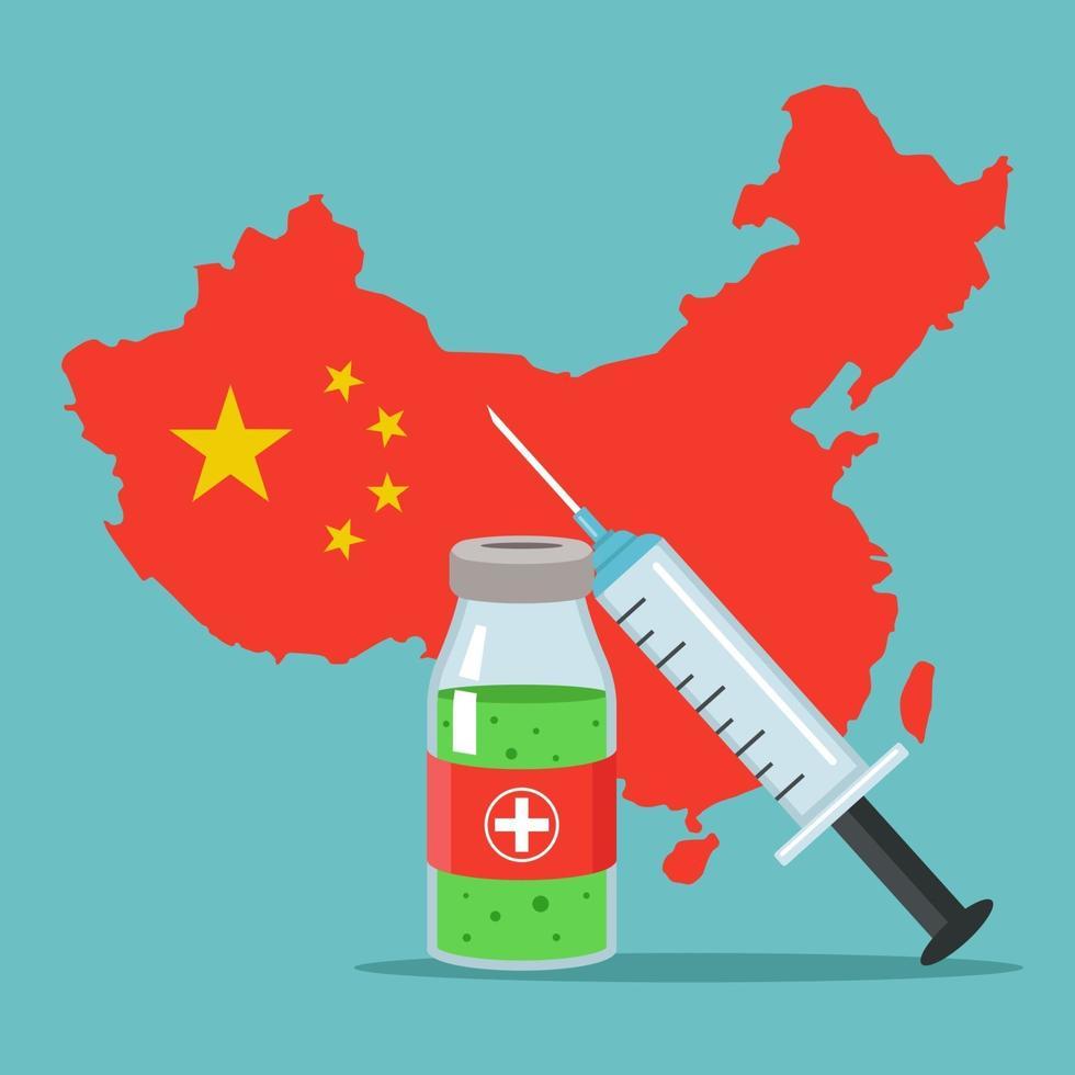 è stato sviluppato un nuovo vaccino contro il coronavirus. epidemia in Cina. illustrazione vettoriale piatta.