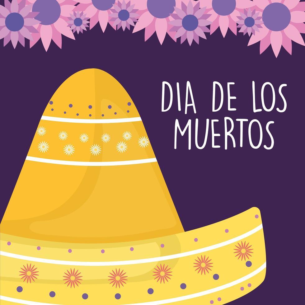 giorno messicano del cappello sombrero morto con disegno vettoriale di fiori