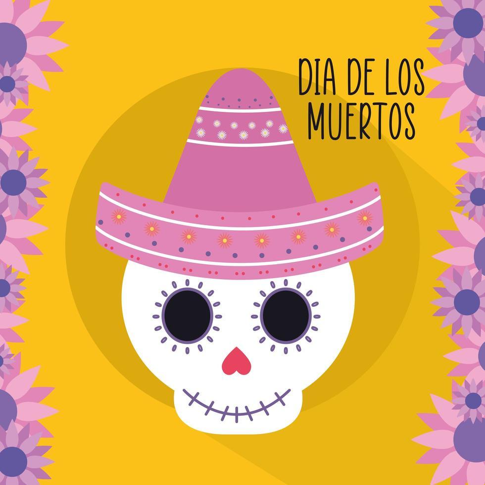 messicano giorno dei morti teschio con cappello sombrero e fiori disegno vettoriale