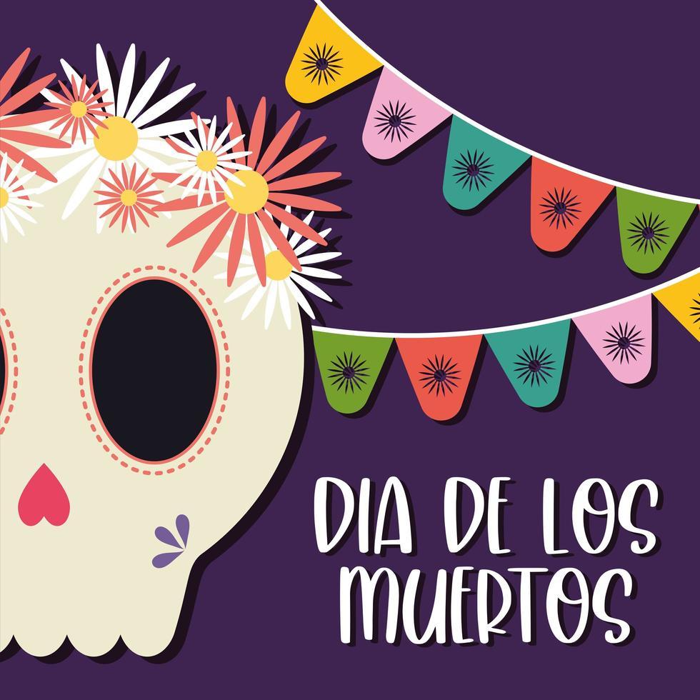 messicano giorno della testa teschio morto con disegno vettoriale fiori