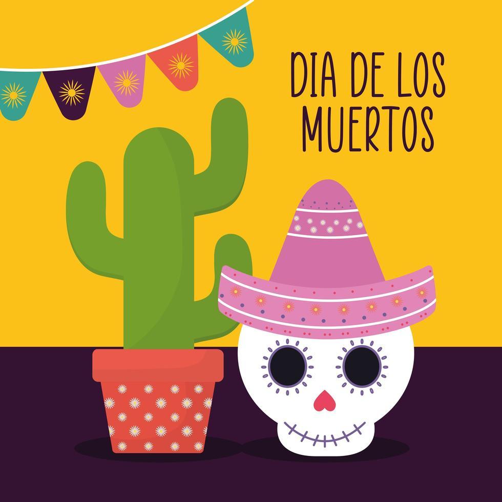 giorno messicano del teschio morto con disegno vettoriale di cactus