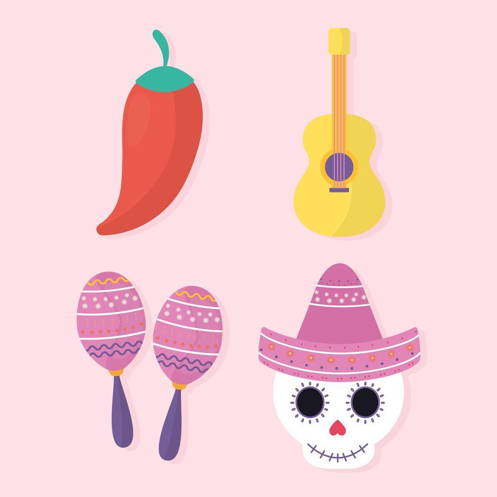 set di icone del giorno messicano dei morti vettore