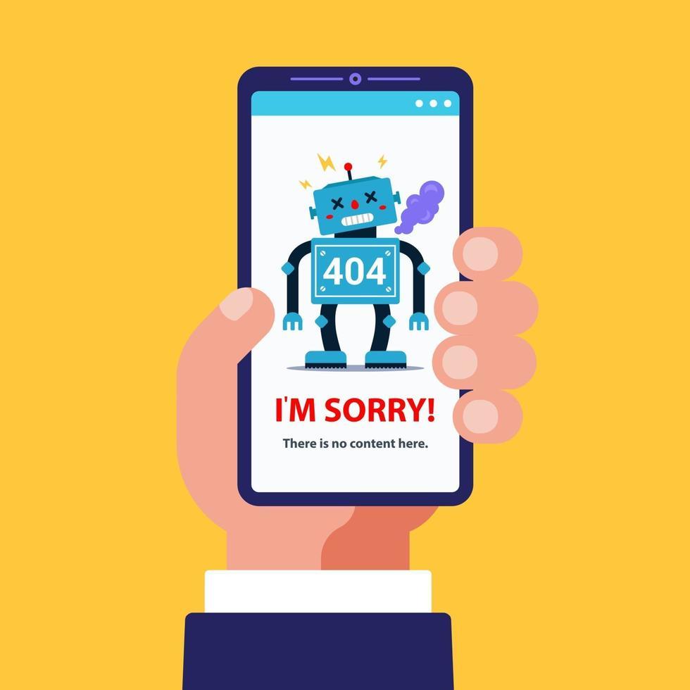 Errore 404 nella versione mobile del sito. mano tiene uno smartphone. illustrazione di un robot rotto. immagine vettoriale piatta.