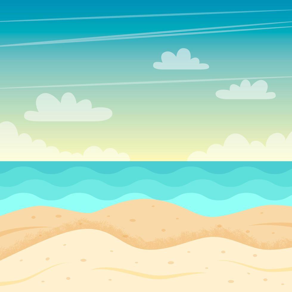 paesaggio della spiaggia. design estivo colorato. illustrazione vettoriale in stile piatto