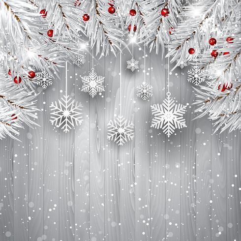 Fiocchi di neve appesi con rami di albero di Natale argento vettore