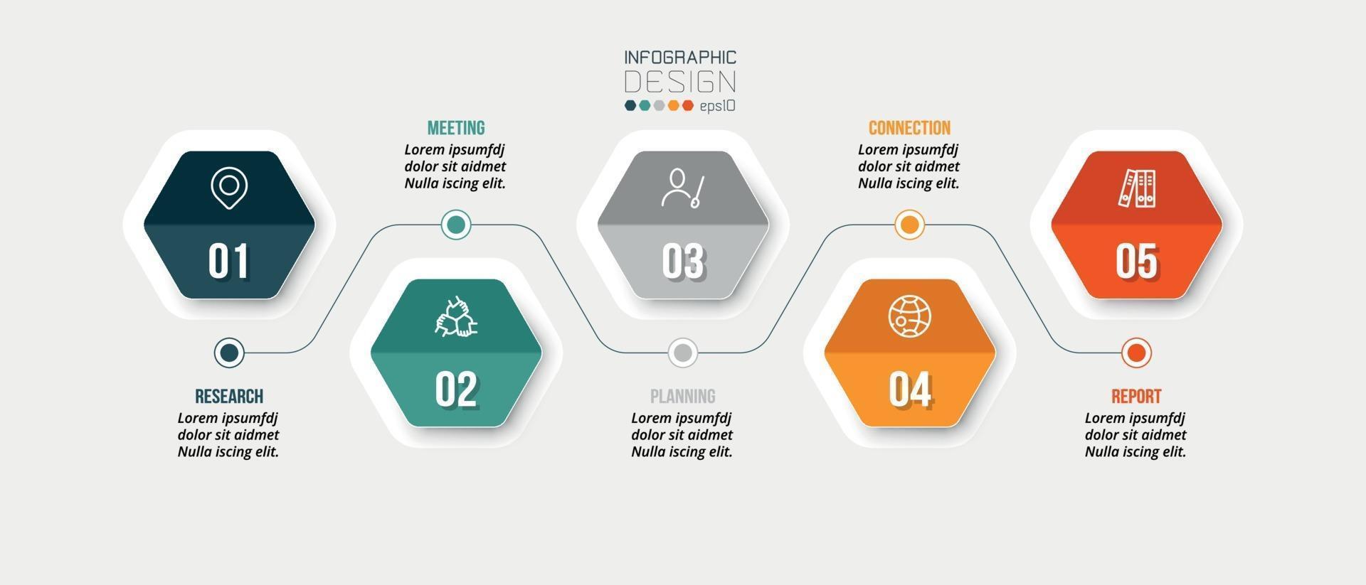 modello di infografica aziendale grafico cronologico. vettore